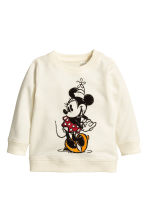 Printed sweatshirt - Natural white/Minnie Mouse -  | H&M CN 1